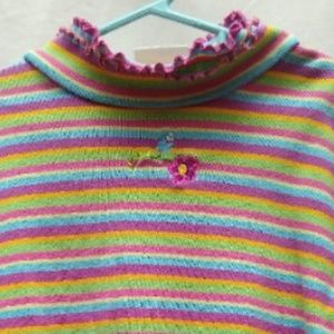 Hanna Anderson Striped Top Shirt 120/ 6 Green Pink